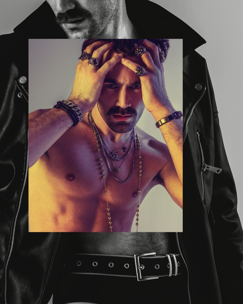 Darek wears leather biker jacket ZARA, underwear Versace, belt Diesel, bracelets Alexander McQueen, rosary Givenchy, rings H&M and ZARA, necklaces Kenzo and Reserved.