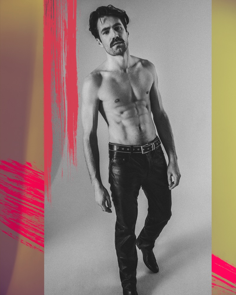 Darek wears vintage trousers Versace, belt Diesel, and shoes Reserved ReDesign.