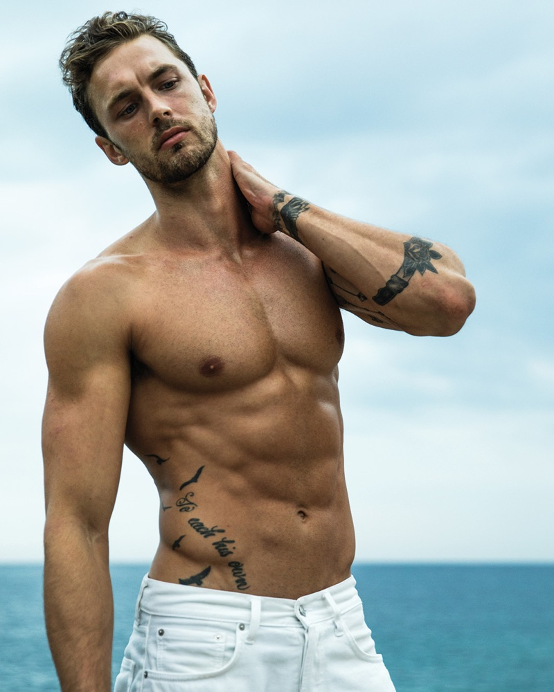 Model Christian Hogue fronts the Davidoff Cool Water Intense fragrance campaign.