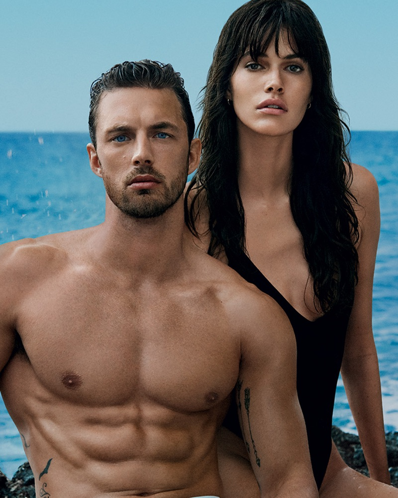 Models Christian Hogue and Vanessa Moody come together for the Davidoff Cool Water Intense fragrance campaign.
