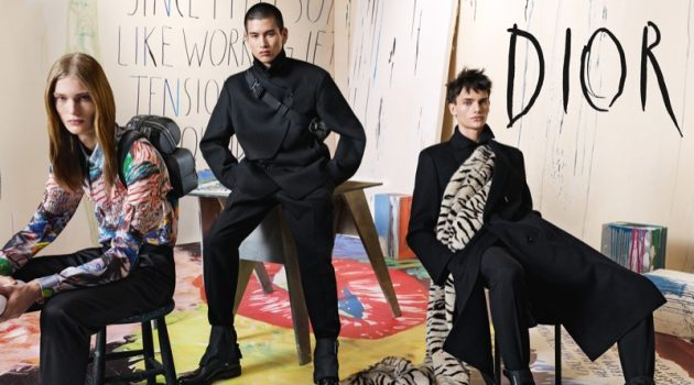 Models Arno Dewit, Kohei Takabatake, and Guirec Murie star in Dior Men's fall-winter 2019 campaign.