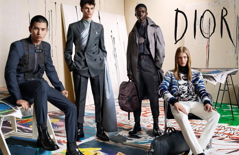 Kohei Takabatake, Guirec Murie, Jeremiah Berko Fourdjour, and Arno Dewit front Dior Men's fall-winter 2019 campaign.