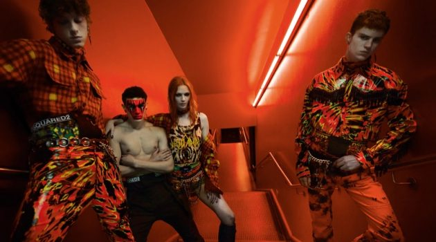 Serge Sergeev, Noah Luis Brown, Mariacarla Boscono, and Andreas Wolf star in Dsquared2's fall-winter 2019 campaign.