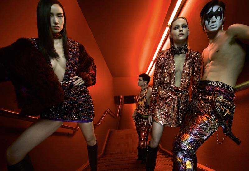 Fei Fei Sun, Keenan Gyamfi, Sasha Pivovarova, and Louis Baines front Dsquared2's fall-winter 2019 campaign.