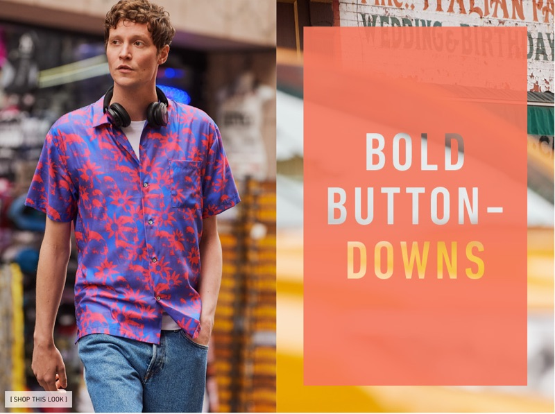 Out for a stroll, Matthew Hitt wears a Double Rainbouu Hawaiian shirt with Levi's Red Tab Original Fit 501 denim jeans, POLO Ralph Lauren pocket tee, and Bang & Olufsen B&O Play headphones.
