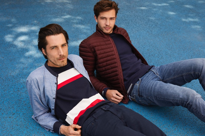 Guillaume Macé and Francisco Lachowski don casual fall 2019 look from Esprit.
