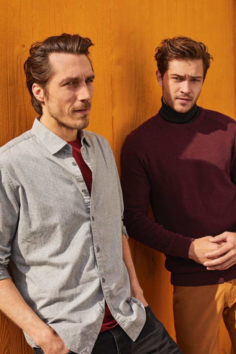 Wearing smart styles, Guillaume Macé and Francisco Lachowski are pictured in Esprit.