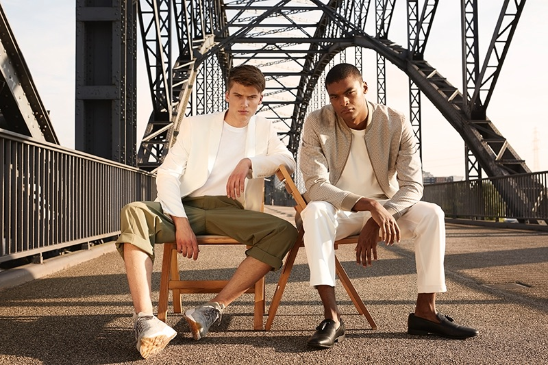 Left to Right: Leon wears jacket ZARA, t-shirt H&M, trousers Weekday, and sneakers EKN footwear. Eugon wears jacket Reserved, t-shirt H&M, trousers Weekday, and shoes ASOS.