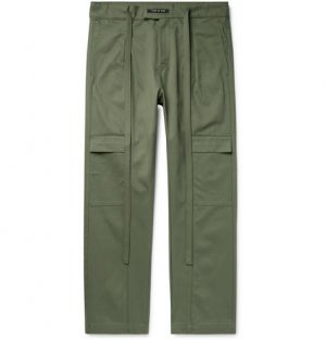 Fear of God - Belted Pleated Cotton-Twill Cargo Trousers - Men - Army green