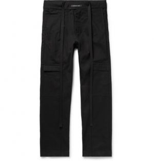 Fear of God - Belted Pleated Cotton-Twill Cargo Trousers - Men - Black