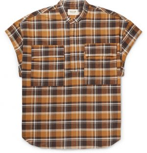 Fear of God - Oversized Checked Cotton-Flannel Half-Placket Shirt - Men - Brown