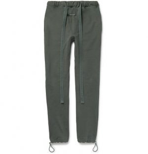 Fear of God - Slim-Fit Tapered Loopback Cotton-Jersey Sweatpants - Men - Gray green