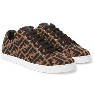 Fendi - Leather-Trimmed Logo-Jacquard Sneakers - Men - Brown