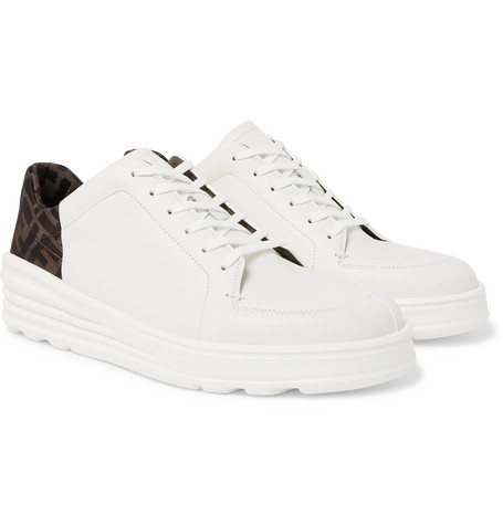 0109a945 Fendi - Logo-Print Webbing and Leather Sneakers - Men - White