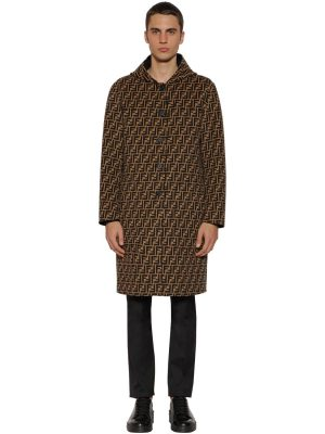 Ff All Over Reversible Hooded Wool Coat