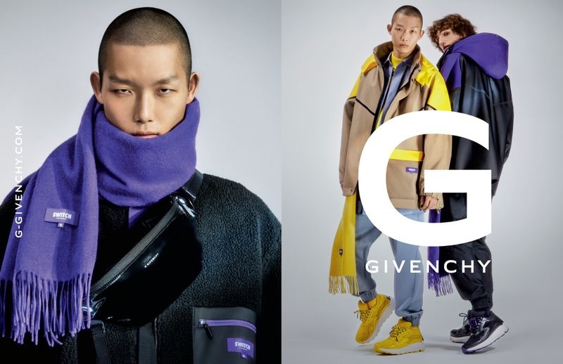 Models Xu Meen and Quintin Van Konkelenberg come together for the G Givenchy fall-winter 2019 men's campaign.