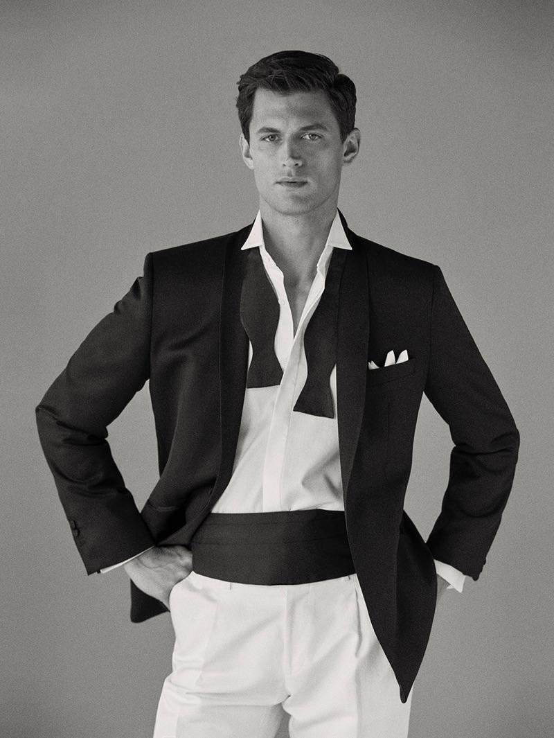 Going formal, Garrett Neff dons an evening jacket and cummerbund by Massimo Dutti.
