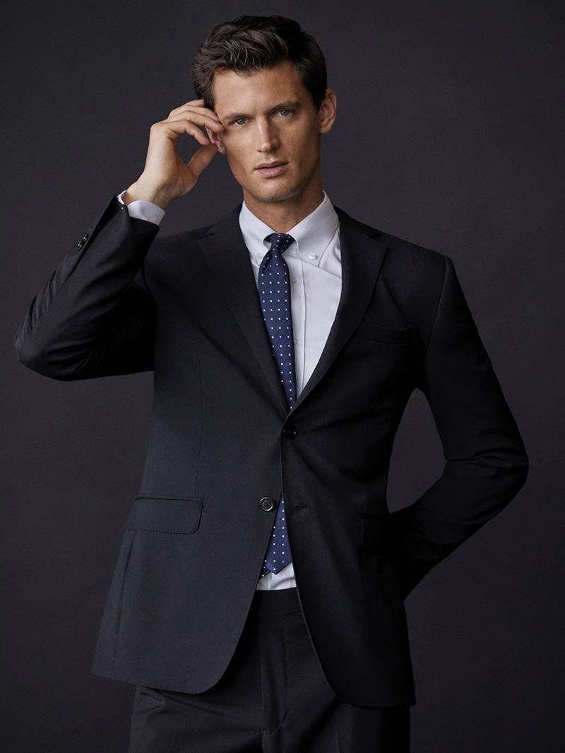 A sharp vision, Garrett Neff sports tailoring from Massimo Dutti.