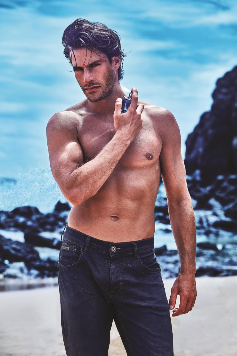 Gonçalo Texeira fronts the fragrance campaign for Avon Musk Marine.