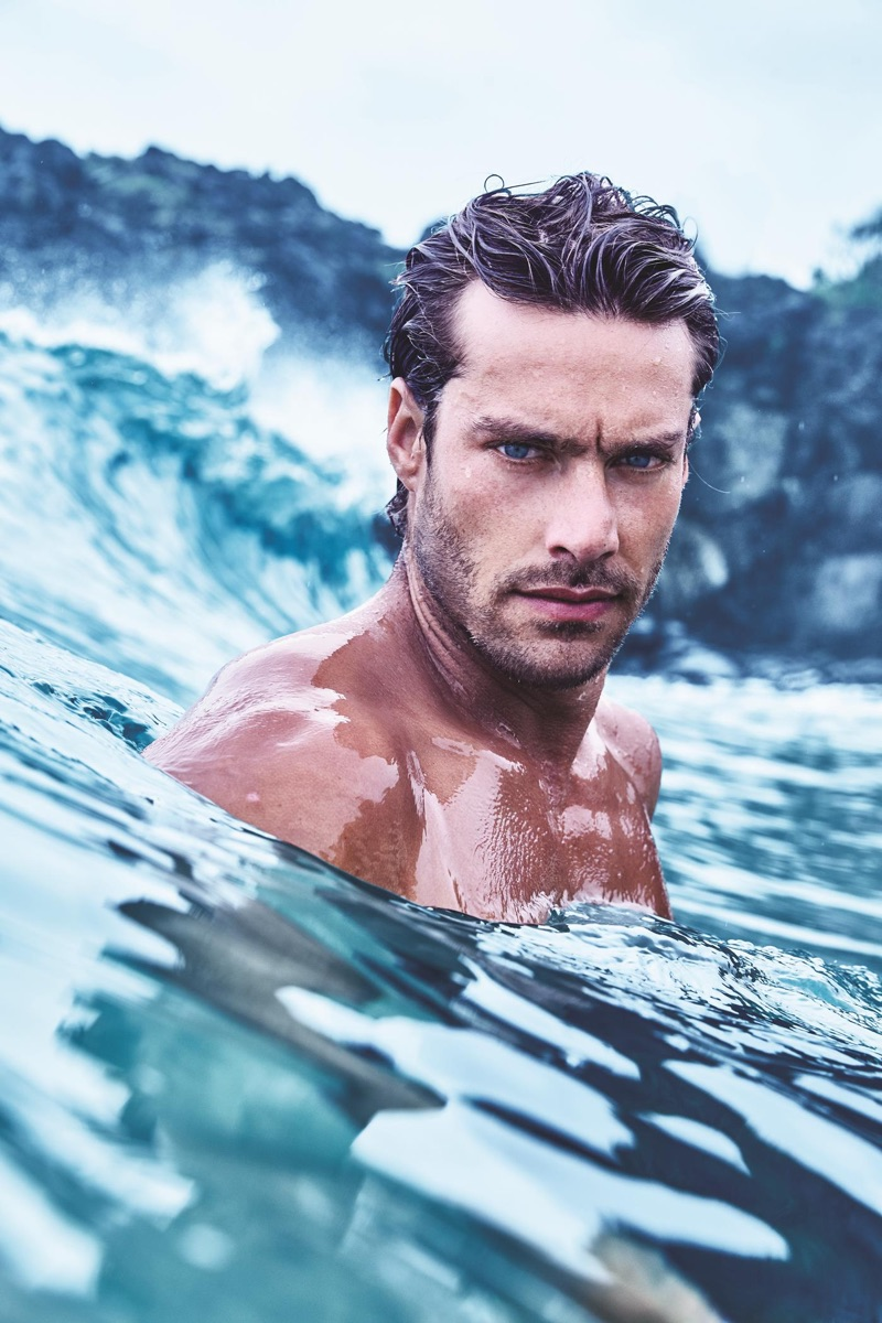 Front and center, Gonçalo Texeira appears in Avon's Musk Marine fragrance campaign.