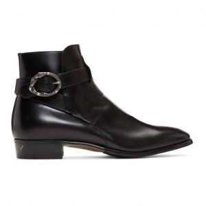 Gucci Black Side Buckle Guccy Plata Boots