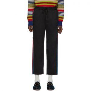 Gucci Black Stripe Cotton Drill Trousers