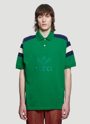 Gucci Embroidered Tennis Polo Shirt in Green size S
