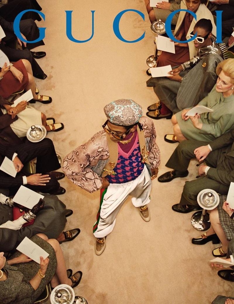 Darron Clarke hits the catwalk for Gucci's fall-winter 2019 men's campaign.