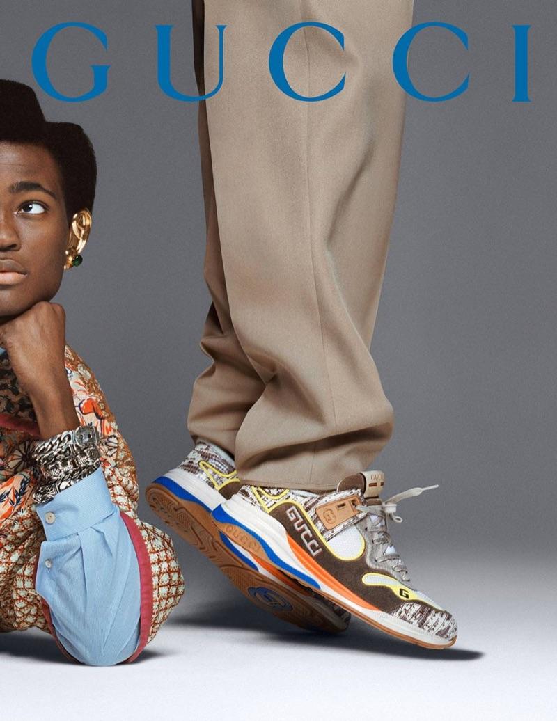 Ibrahim Kamara appears in Gucci's fall-winter 2019 men's campaign.