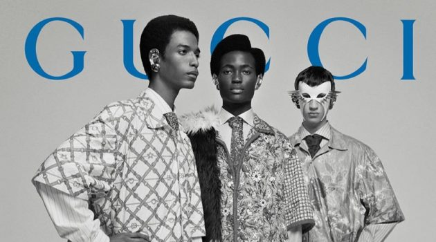 Models Darron Clarke, Ibrahim Kamara, and Alan Solonchuk star in Gucci's fall-winter 2019 men's campaign.