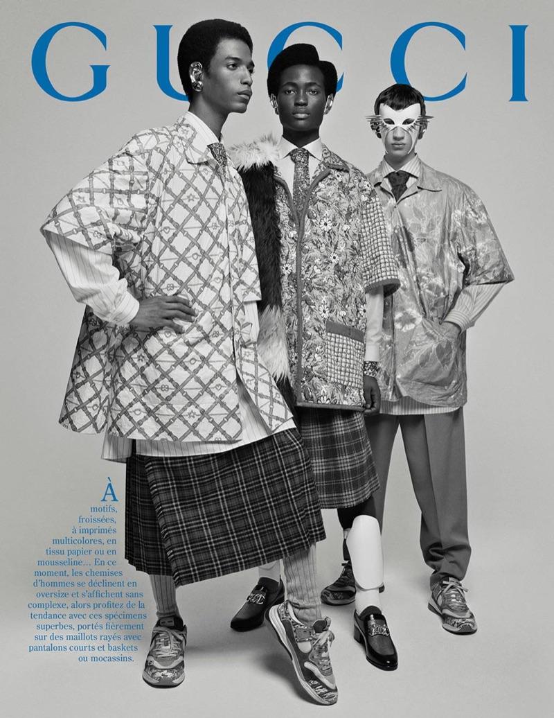 Models Darron Clarke, Ibrahim Kamara, and Alan Solonchuk star in Gucci's fall-winter 2019 men's campaign.