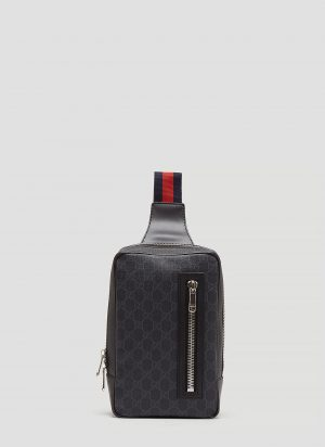 Gucci GG Supreme Web Belt Cross Body Bag in Black size One Size
