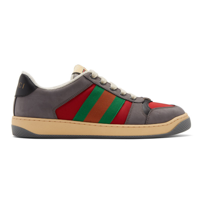 Gucci Grey And Red Screener Sneakers