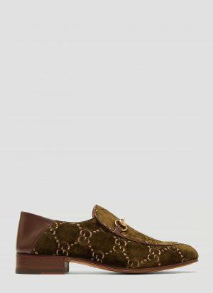 Gucci Horsebit GG Velvet Loafer in Khaki size UK - 09