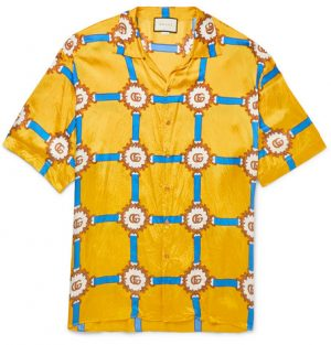 Gucci - Oversized Camp-Collar Printed Crinkled-Voile Shirt - Men - Yellow