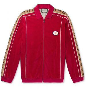 Gucci - Oversized Logo-Appliquéd Webbing-Trimmed Piped Velvet Track Jacket - Men - Red