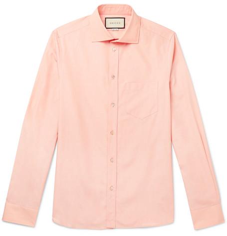 Gucci , Peach Cutaway,Collar Cotton,Poplin Shirt , Men , Peach