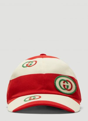 Gucci Striped Logo Baseball Cap in Red and White size L