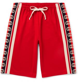 Gucci - Webbing-Trimmed Tech-Jersey Shorts - Men - Red
