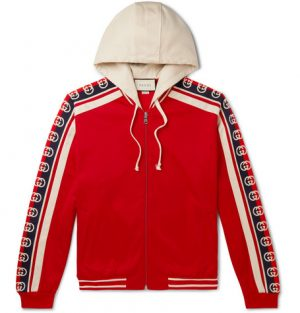 Gucci - Webbing-Trimmed Tech-Jersey Zip-Up Hoodie - Men - Red