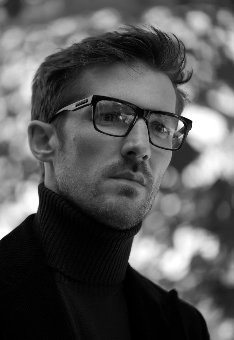 Donning glasses, Gwilym Lee poses for Tod's fall-winter 2019 men's campaign.