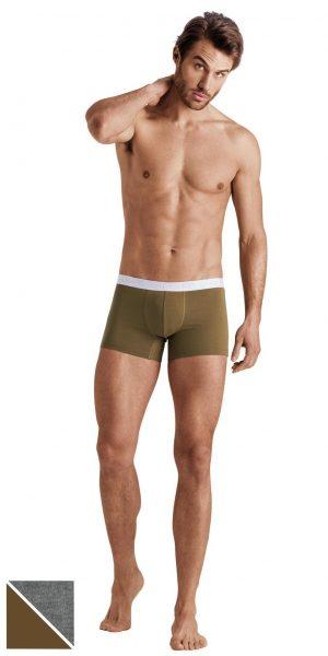 HANRO Cotton Essentials Boxer Briefs 2-Pack - Artichoke/coal Melange S