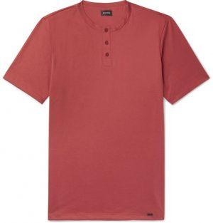 Hanro - Night & Day Cotton-Jersey Henley T-Shirt - Men - Red