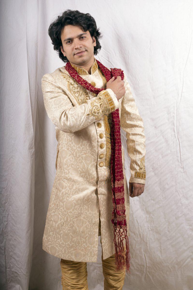 Indian Model Sherwani Red Dupatta