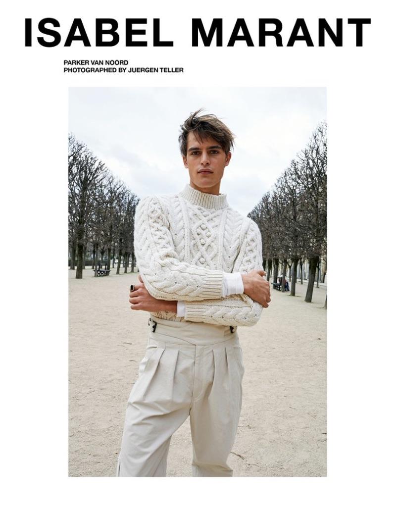 Parker van Noord stars in Isabel Marant's fall-winter 2019 men's campaign.