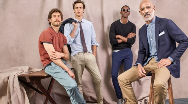Models Josh Upshaw, Tim Dibble, Claudio Monteiro, and Lono Brazil don stylish chinos from J.Crew.