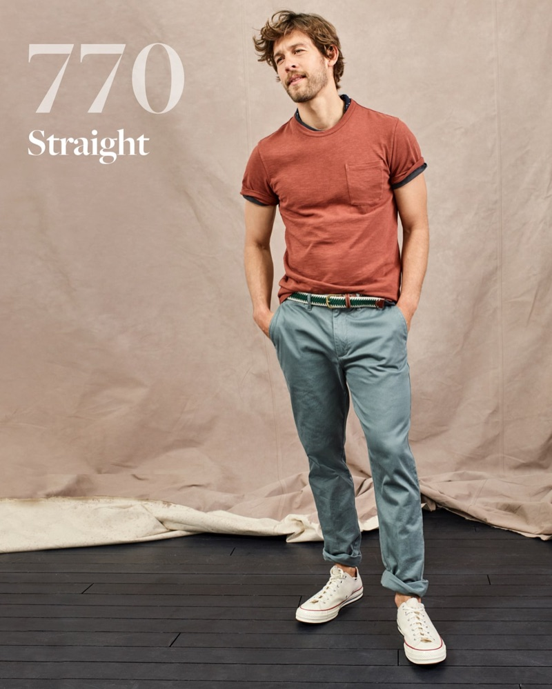 Josh Upshaw models J.Crew's 770 straight chino pants.