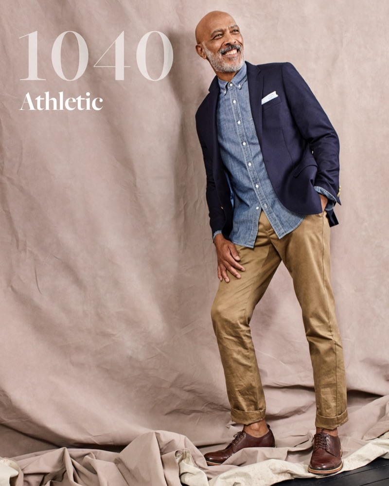 All smiles, Lono Brazil wears J.Crew's 1040 athletic chino pants.