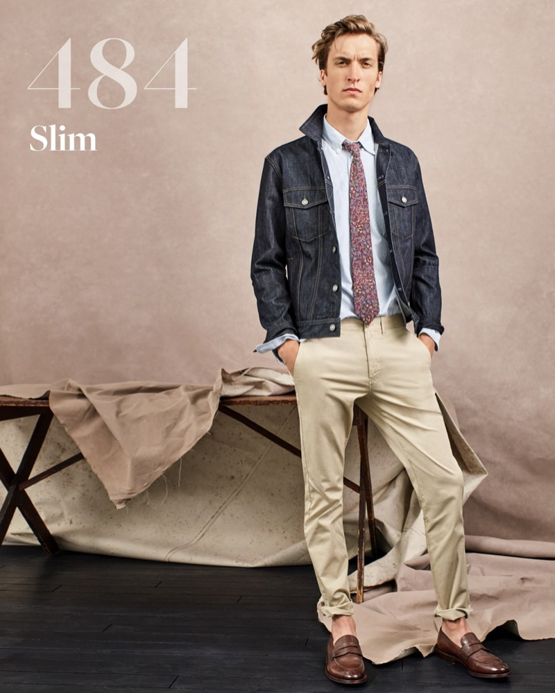 Tim Dibble sports a denim jacket and light blue shirt with J.Crew's 484 slim chino pants.