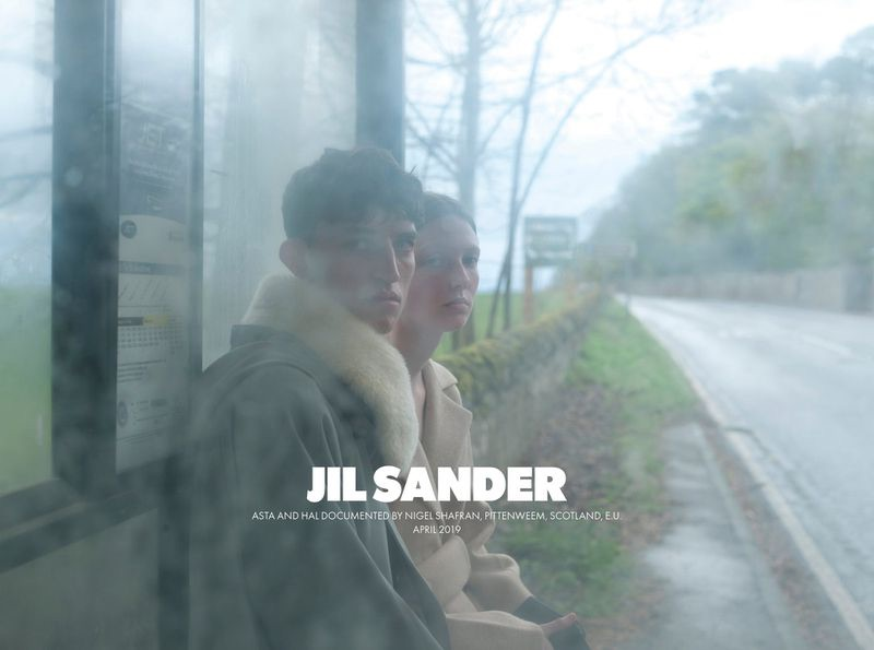 Models Hal Haines and Asta Stensson front Jil Sander's fall-winter 2019 campaign.